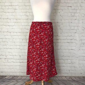 Sanctuary Red Floral Midi Skirt Size M